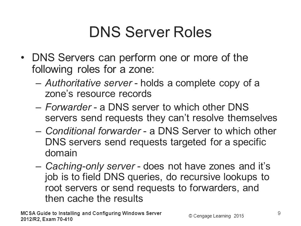 DNS Server Roles DNS Servers can perform one or more of the following roles for a zone: