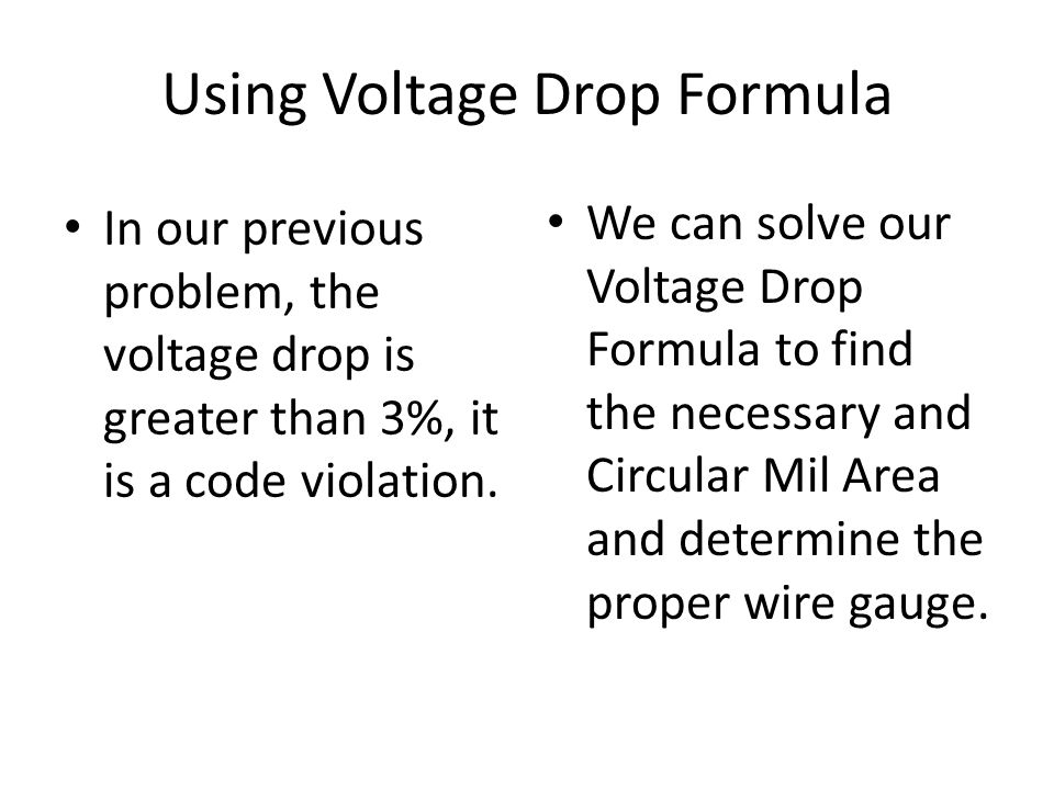 Using Voltage Drop Formula