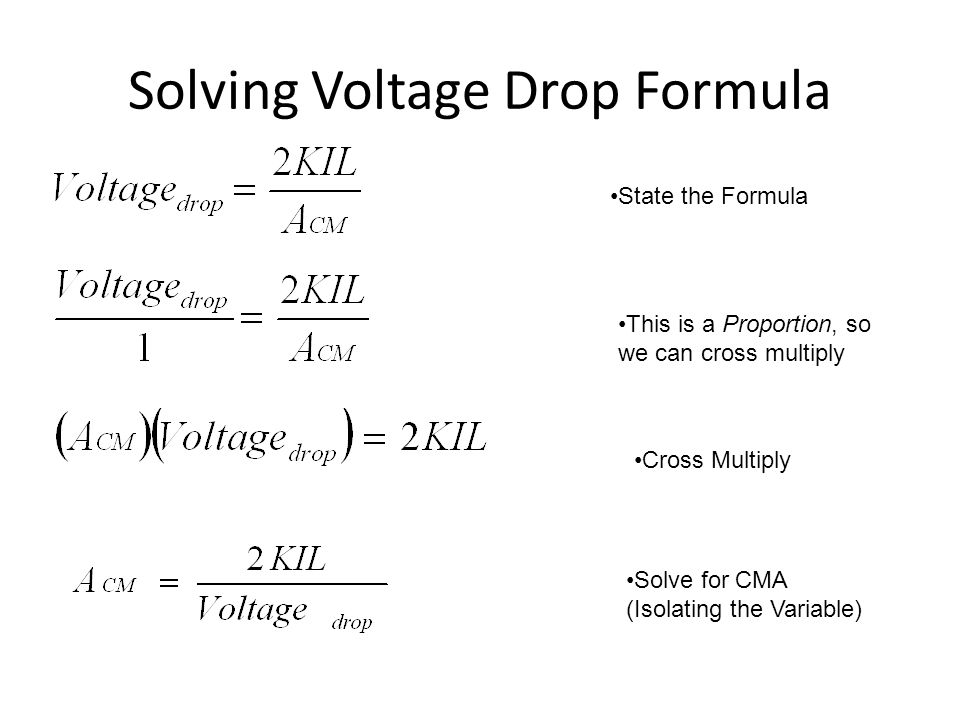Solving Voltage Drop Formula