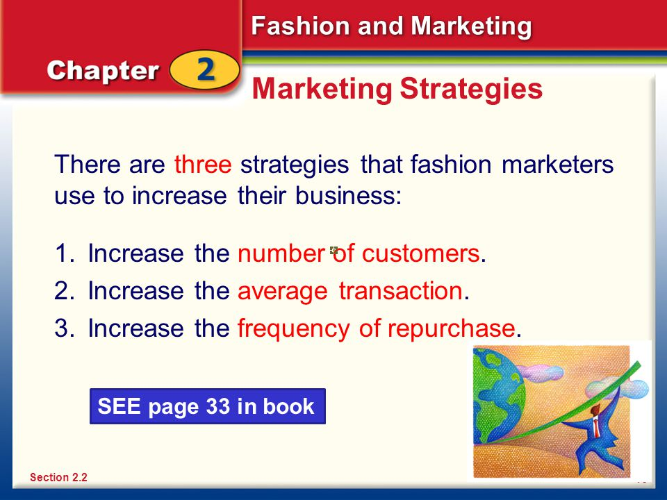 Marketing Strategies There are three strategies that fashion marketers use to increase their business: