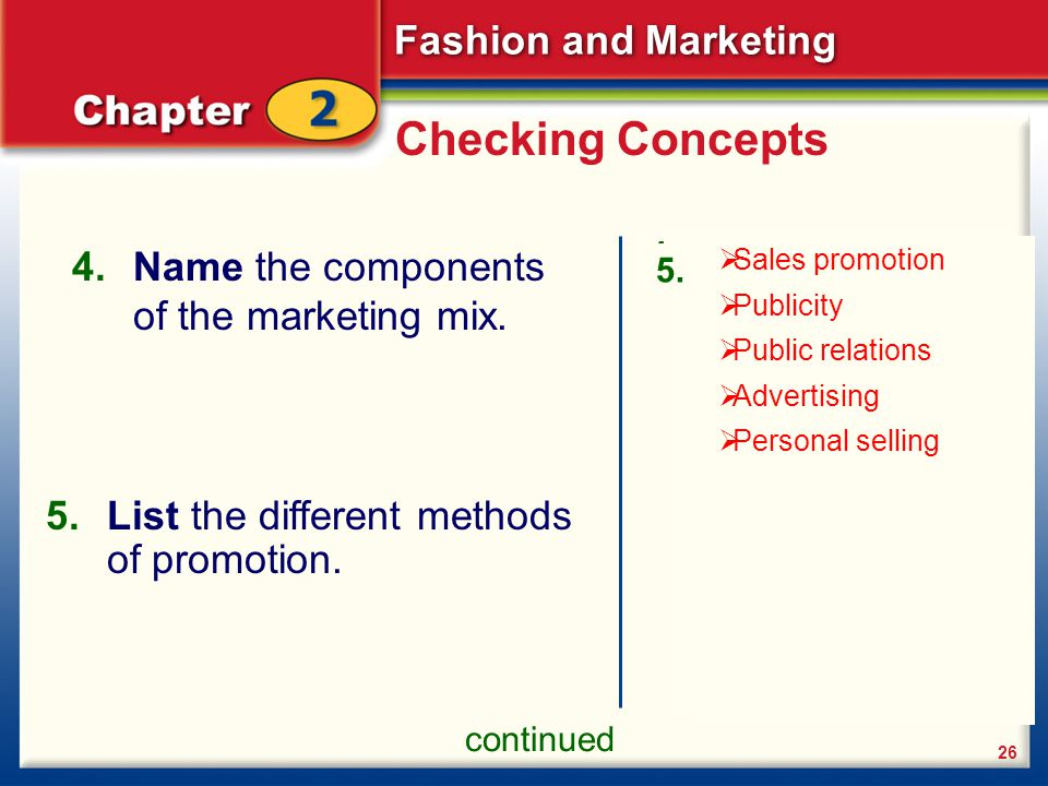 Checking Concepts Name the components of the marketing mix.