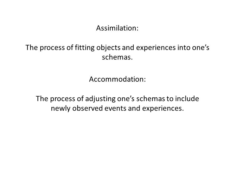 The process of fitting objects and experiences into one's schemas.