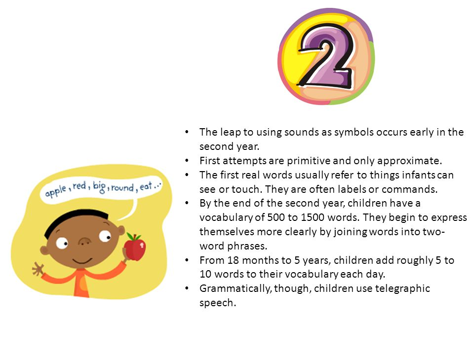 The leap to using sounds as symbols occurs early in the second year.