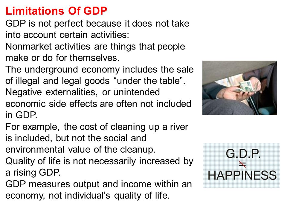 Limitations Of GDP GDP is not perfect because it does not take into account certain activities: