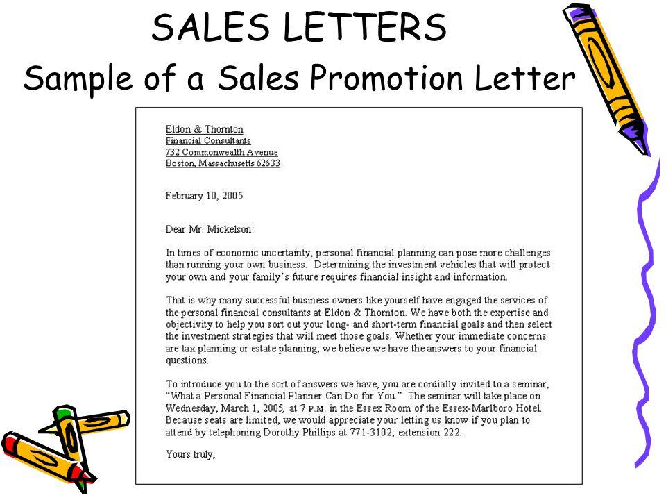 Sales and public relations letters ppt video online download 14 sales letters sample of a sales promotion letter altavistaventures Images