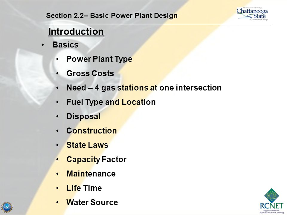 Introduction Basics Power Plant Type Gross Costs