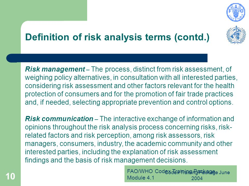 Definition of risk analysis terms (contd.)