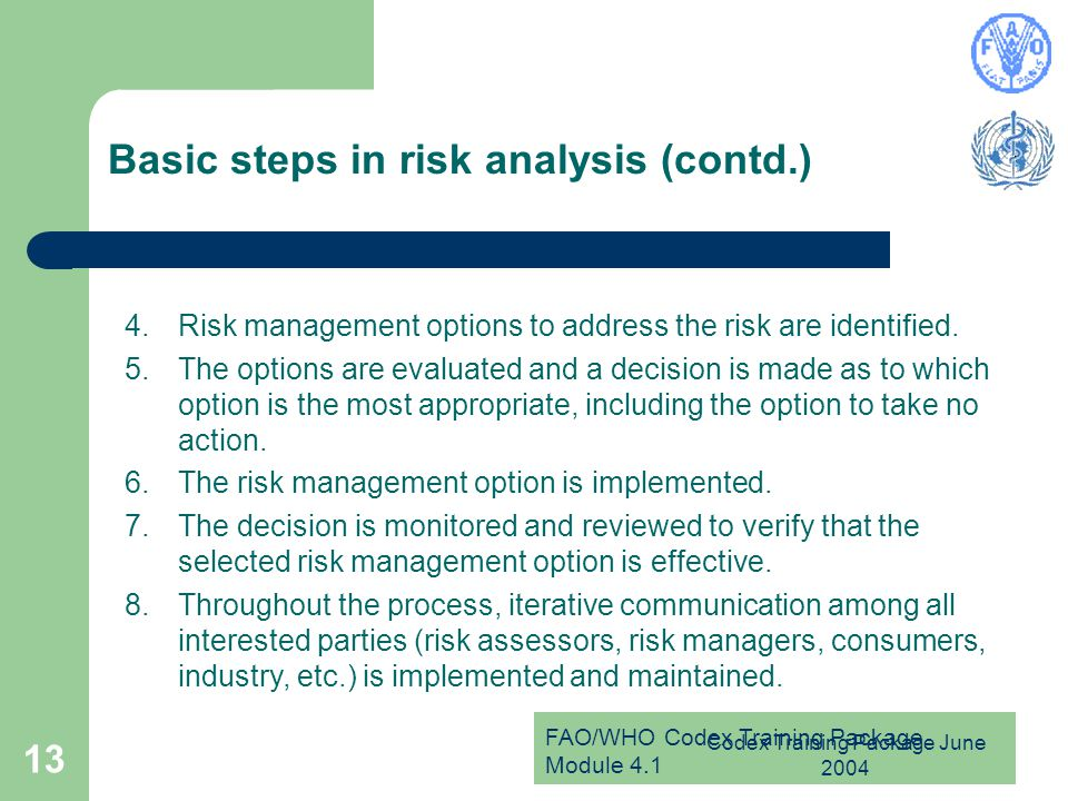 Basic steps in risk analysis (contd.)
