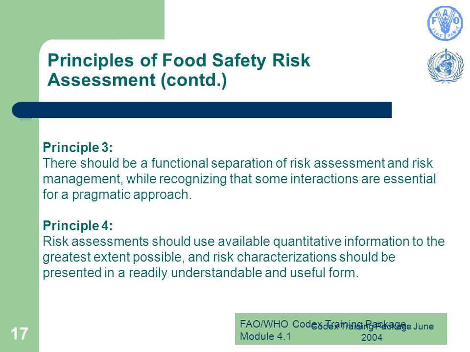 Principles of Food Safety Risk Assessment (contd.)