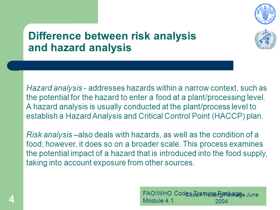 Difference between risk analysis and hazard analysis