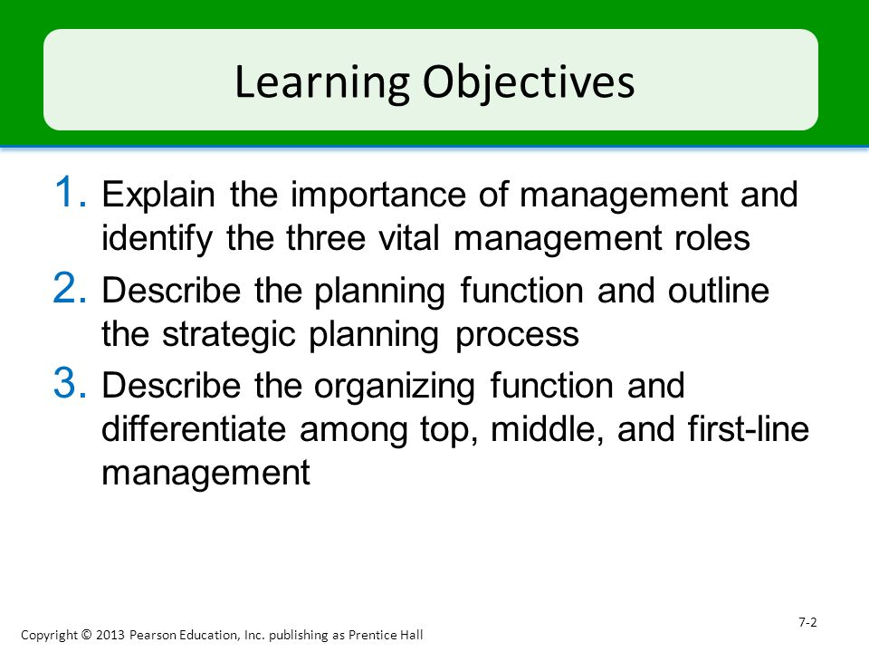 describe the planning function of management