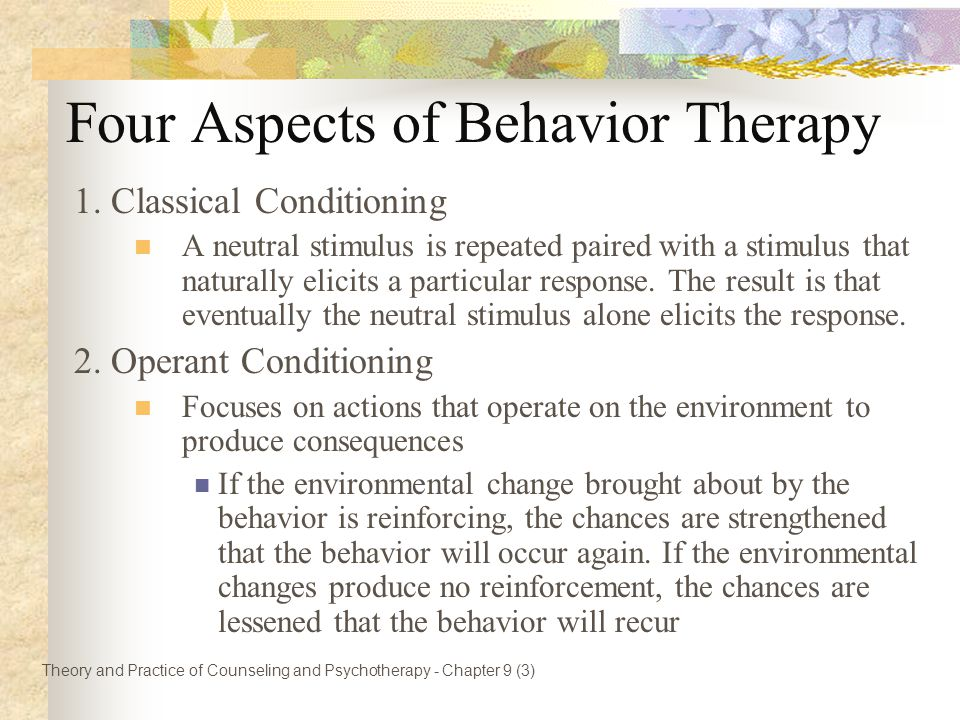 Four Aspects of Behavior Therapy