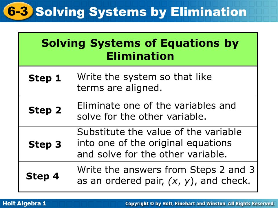 elimination method notes
