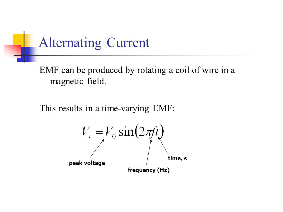 Alternating Current EMF can be produced by rotating a coil of wire in a magnetic field. This results in a time-varying EMF: