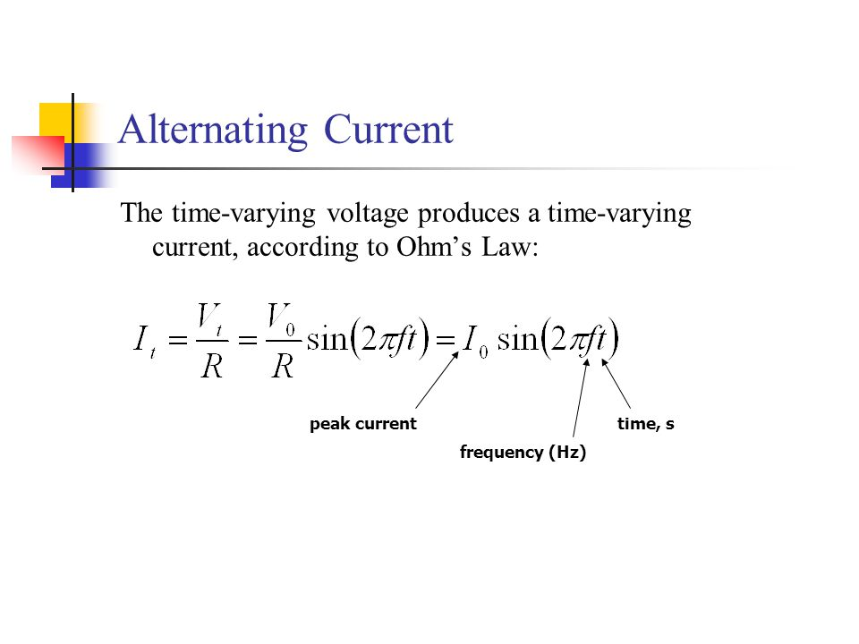 Alternating Current The time-varying voltage produces a time-varying current, according to Ohm's Law:
