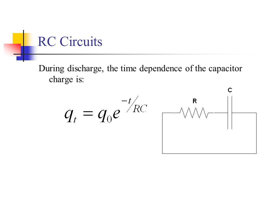 RC Circuits During discharge, the time dependence of the capacitor charge is: