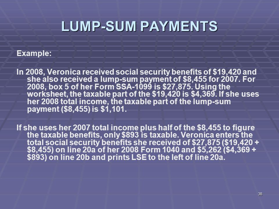 Liberty Tax Service Online Basic Ine Course Lesson Ppt Download. 38 Lumpsum Payments Exle In 2008 Veronica Received Social Security Benefits. Worksheet. 1040 Social Security Benefits Worksheet At Clickcart.co