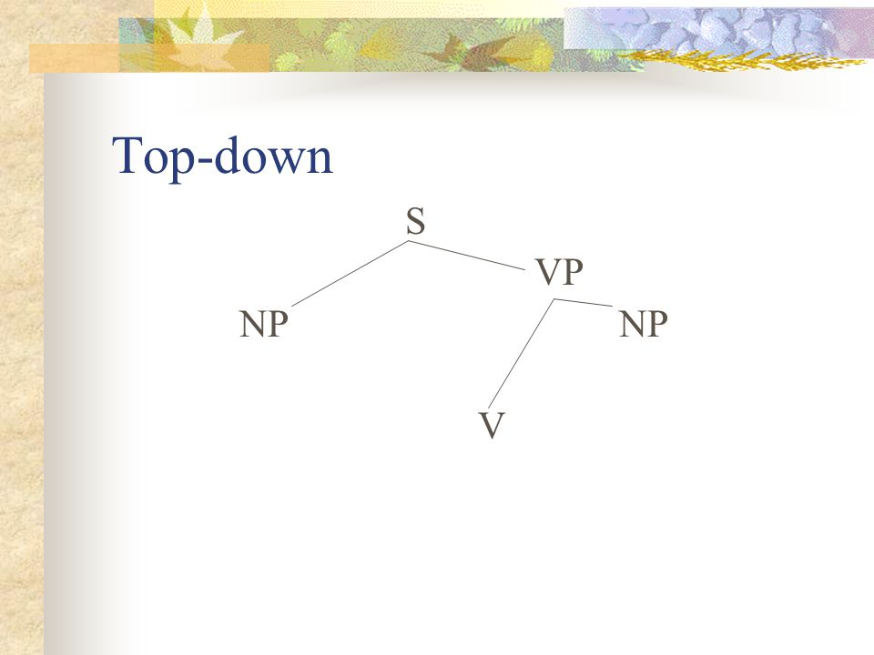 Top-down S VP NP NP V