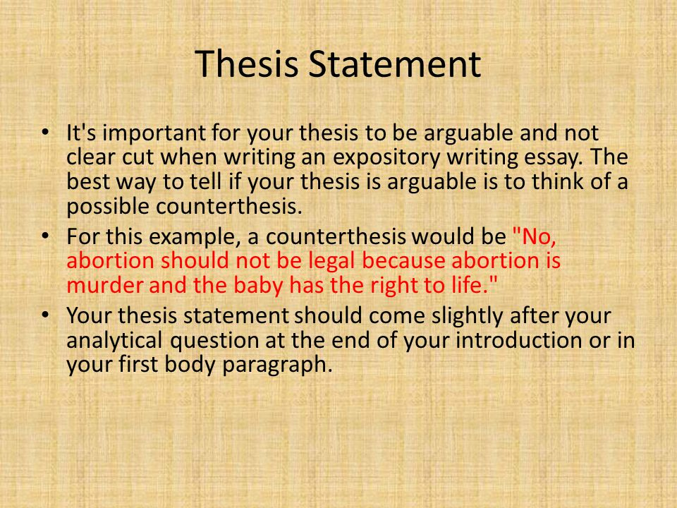 Thesis Statement | Examples Of Thesis Statements For Expository Essays Essay Writing