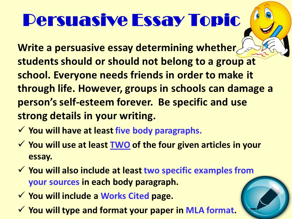 Proposal Essay Topics List Persuasive Essay Topic Process Essay Thesis also Apa Sample Essay Paper Writing A Persuasive Essay  Ppt Video Online Download Essay About Learning English