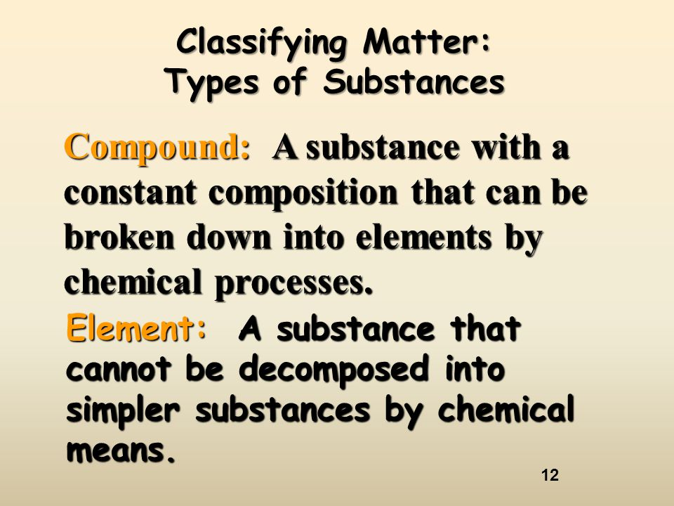 Classifying Matter: Types of Substances.