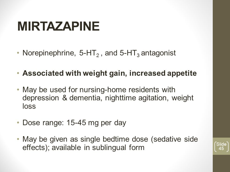 Mirtazapine long term use side effects