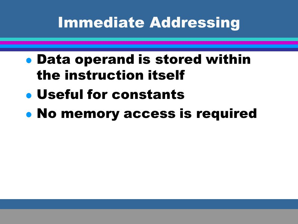 Immediate Addressing Data operand is stored within the instruction itself.