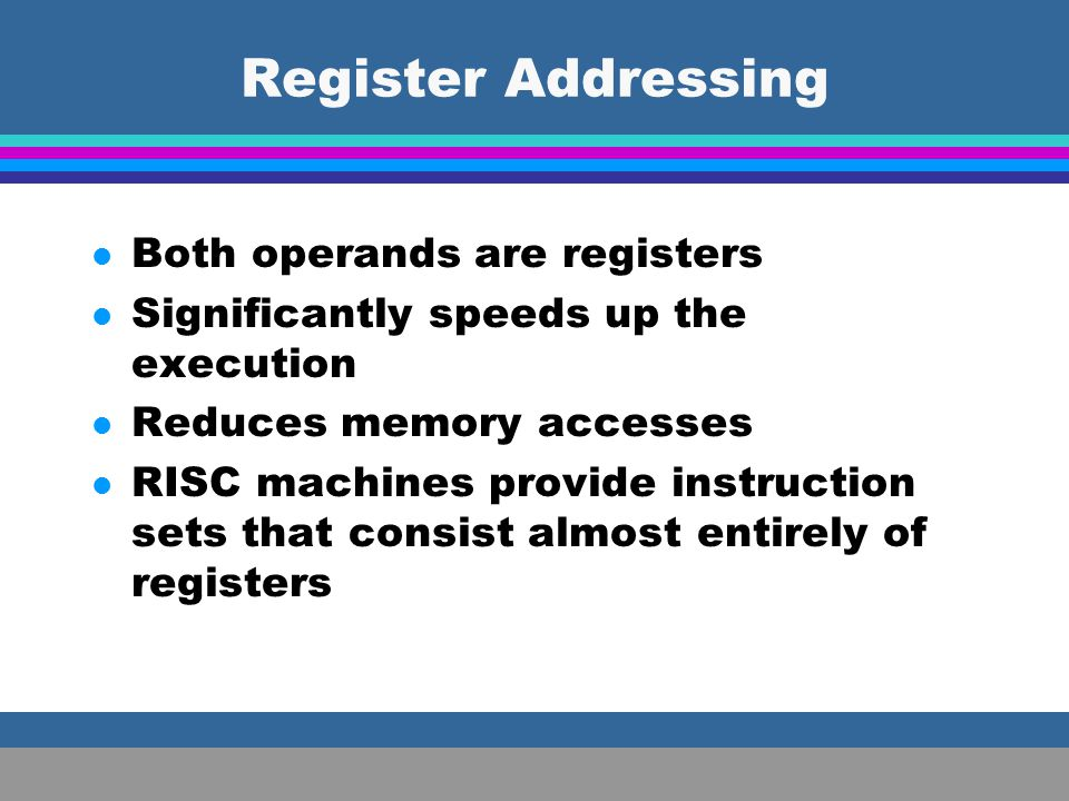 Register Addressing Both operands are registers