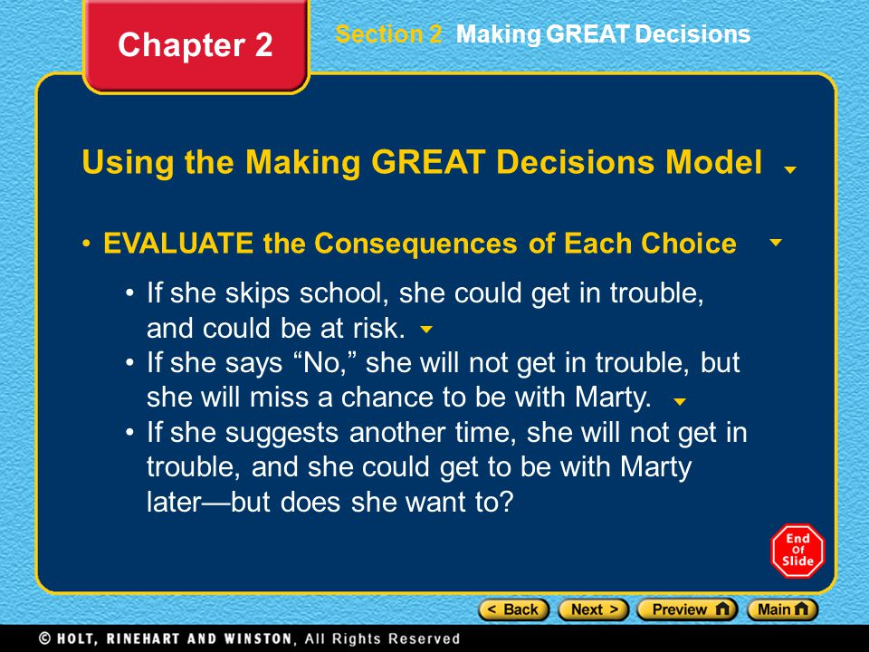 Using the Making GREAT Decisions Model