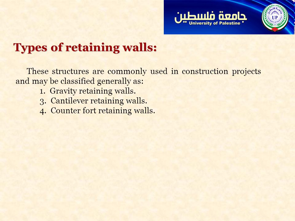 Lecture 11 Advance Design of RC Structure Retaining walls