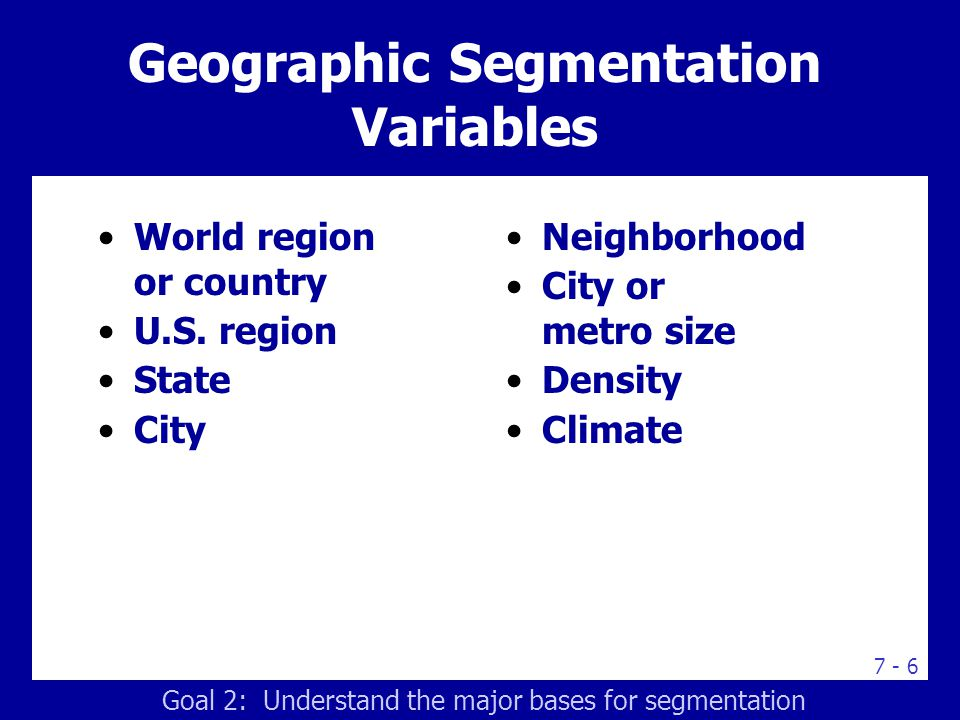 Demographic Segmentation Variables