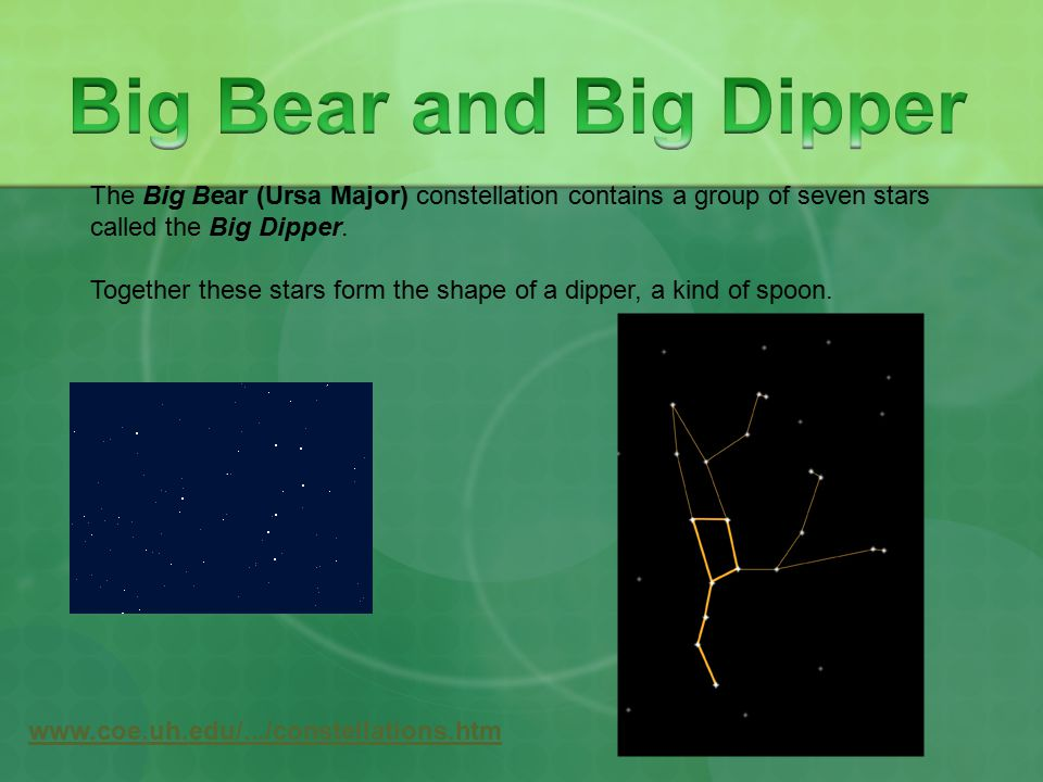 Big Bear and Big Dipper The Big Bear (Ursa Major) constellation contains a group of seven stars. called the Big Dipper.