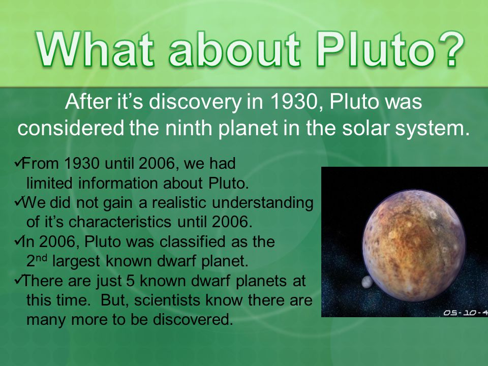 What about Pluto After it's discovery in 1930, Pluto was