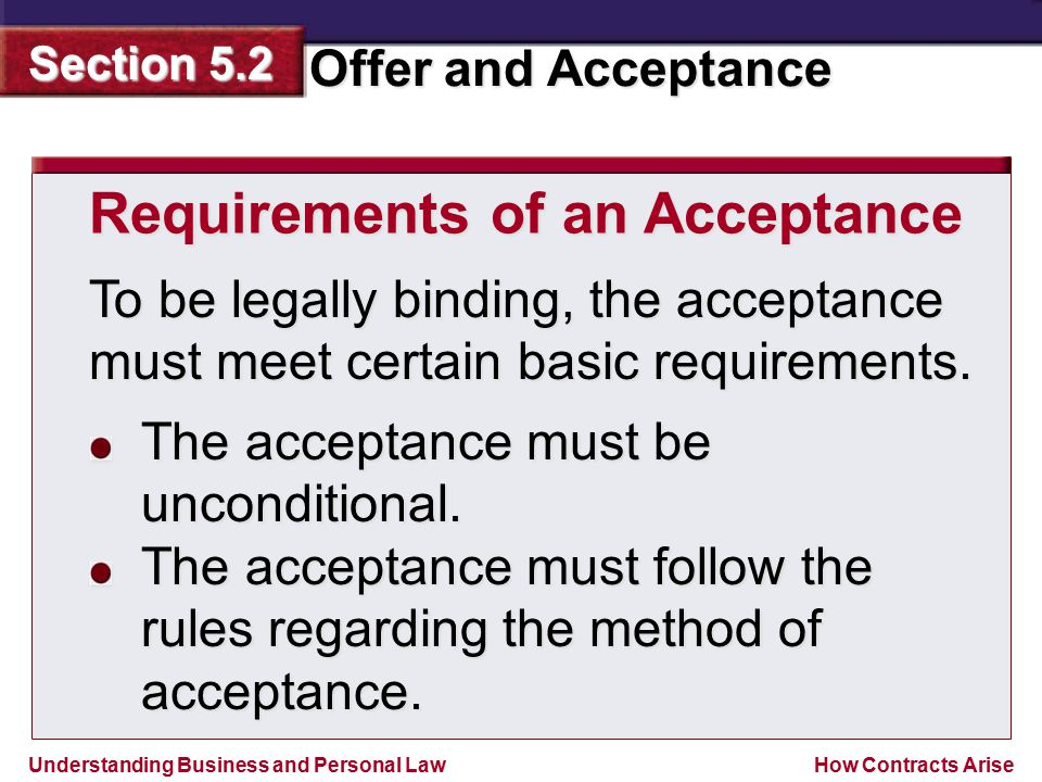 Requirements of an Acceptance