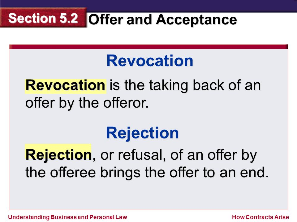 Revocation Revocation is the taking back of an offer by the offeror. Rejection.
