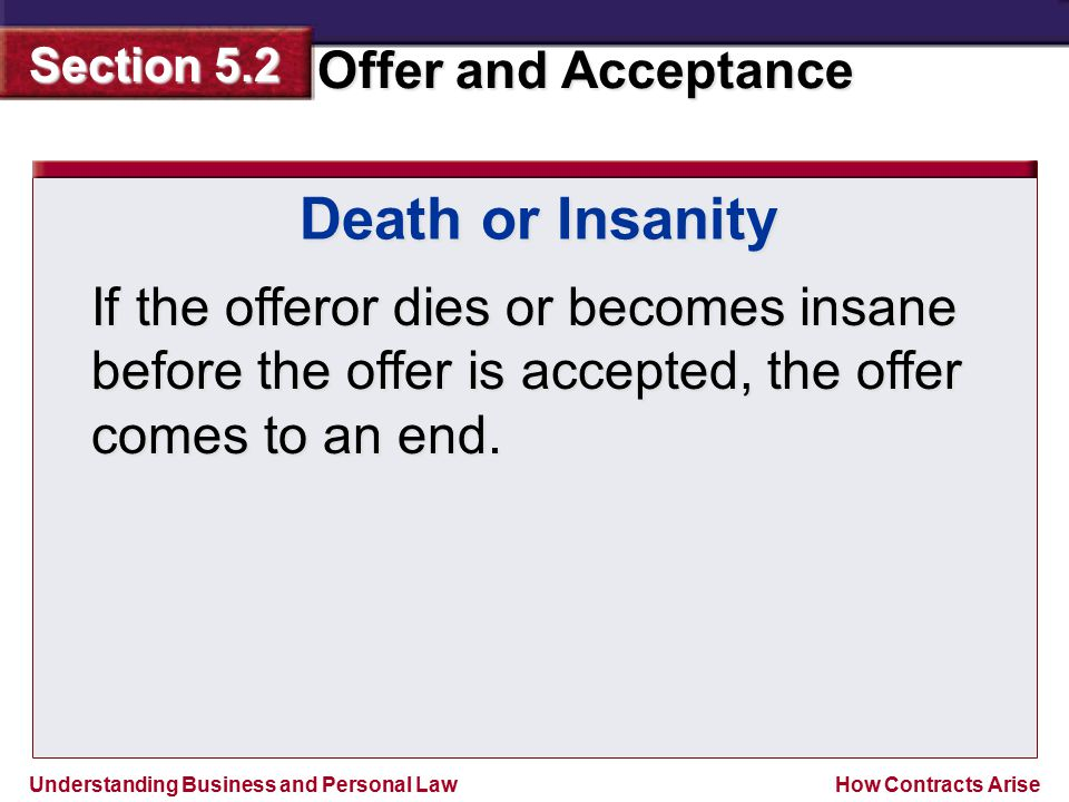 Death or Insanity If the offeror dies or becomes insane before the offer is accepted, the offer comes to an end.