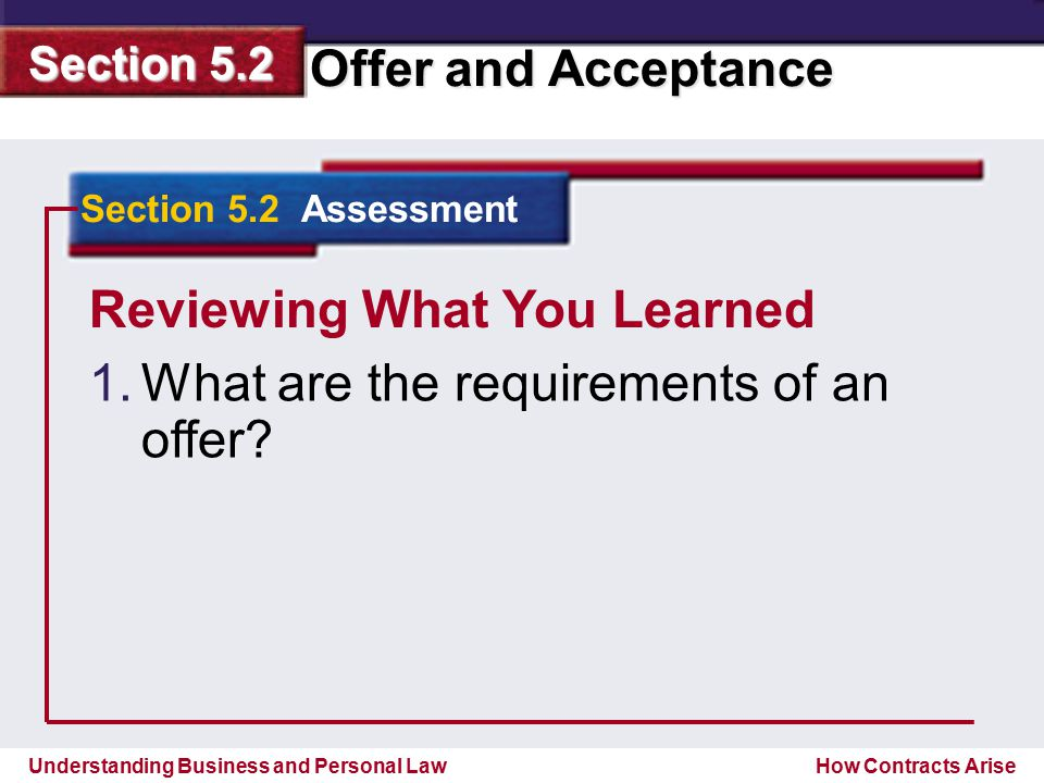 Reviewing What You Learned What are the requirements of an offer