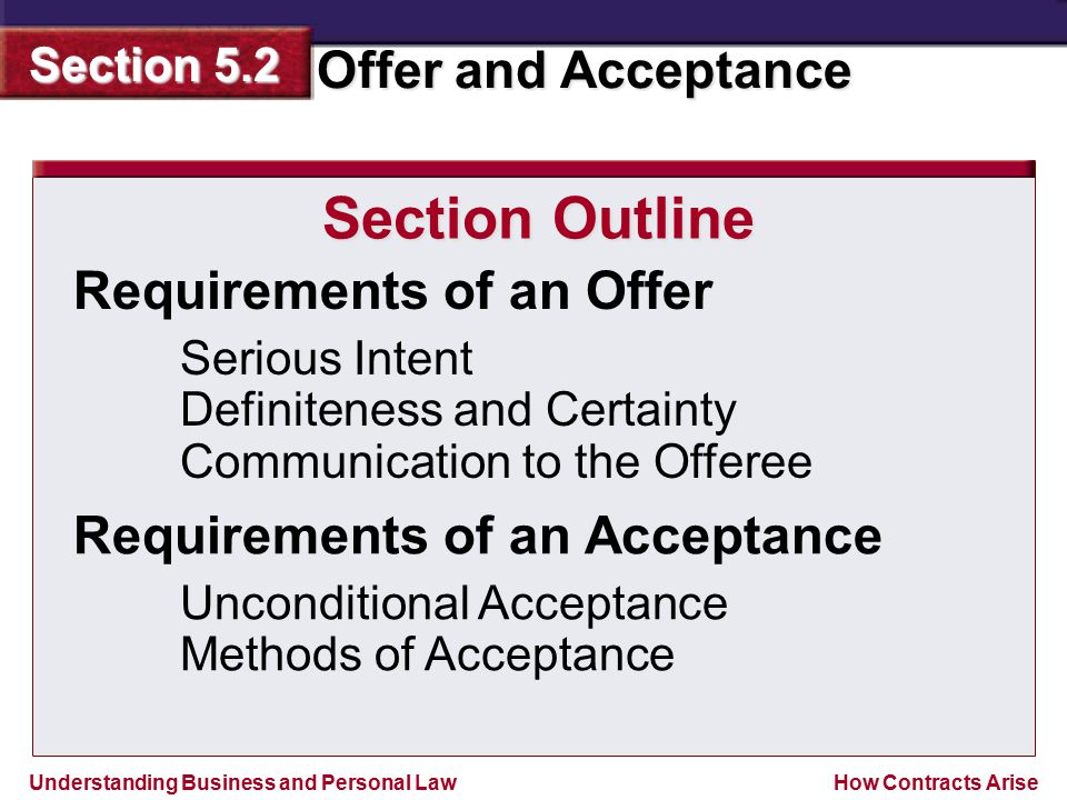 Section Outline Requirements of an Offer Requirements of an Acceptance