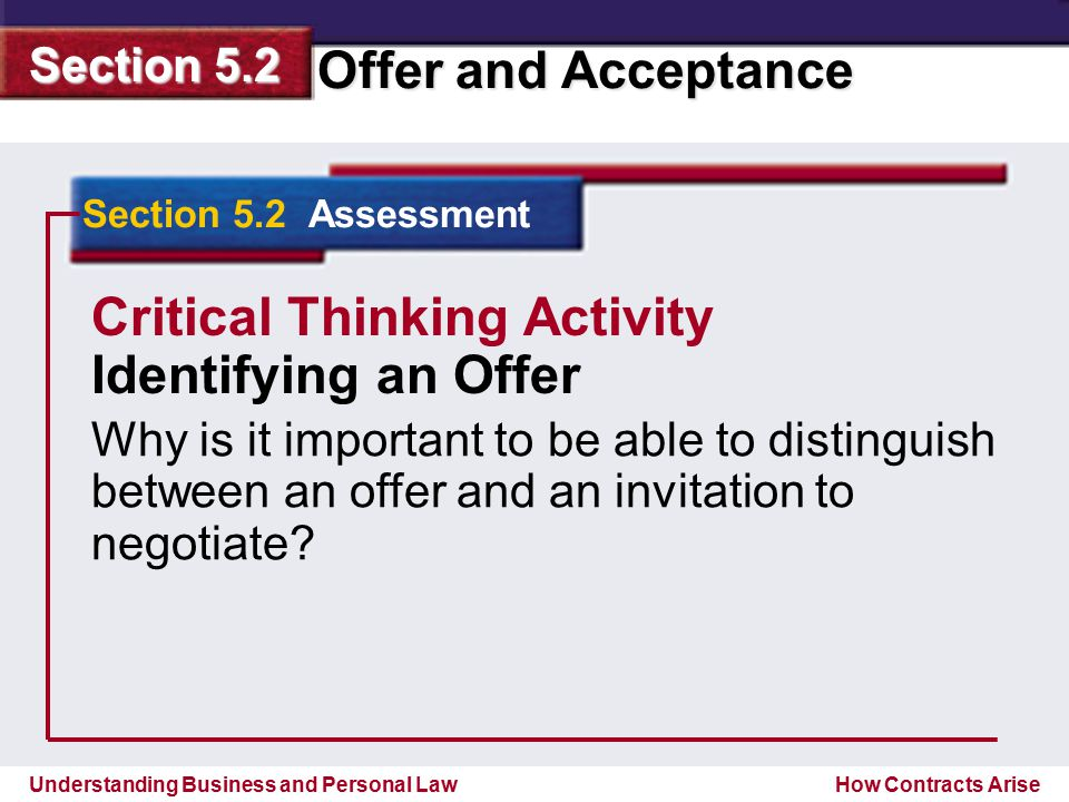 Critical Thinking Activity Identifying an Offer