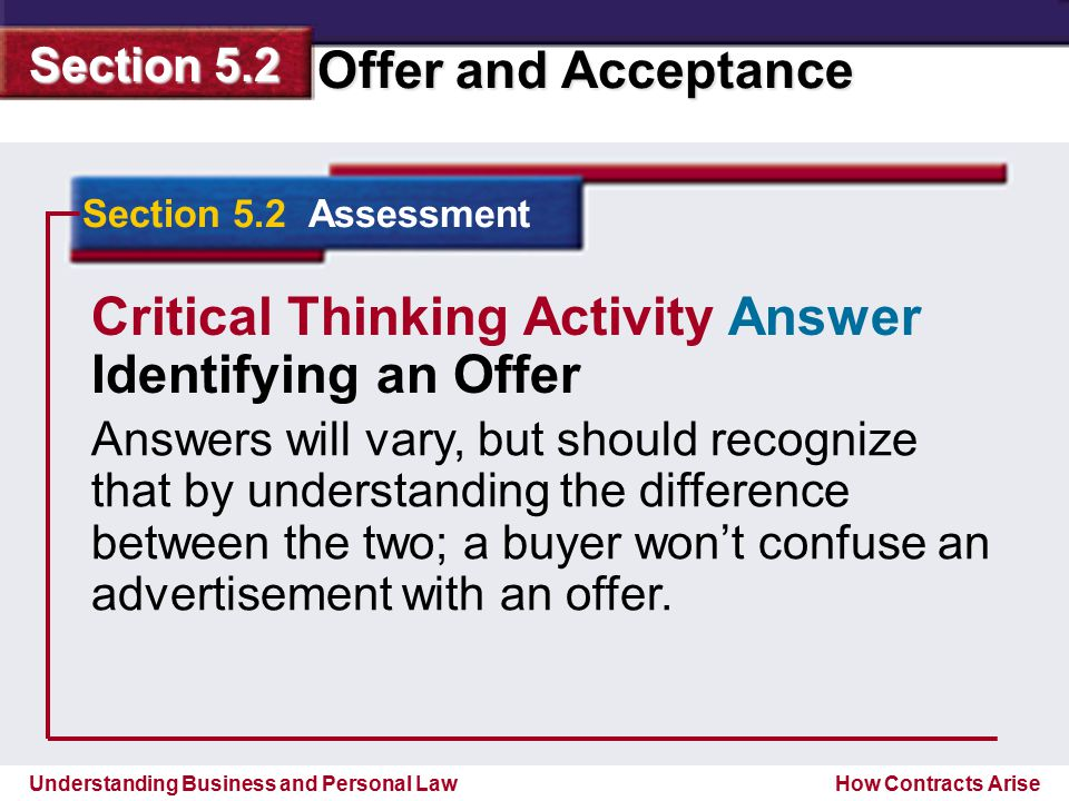 Critical Thinking Activity Answer Identifying an Offer