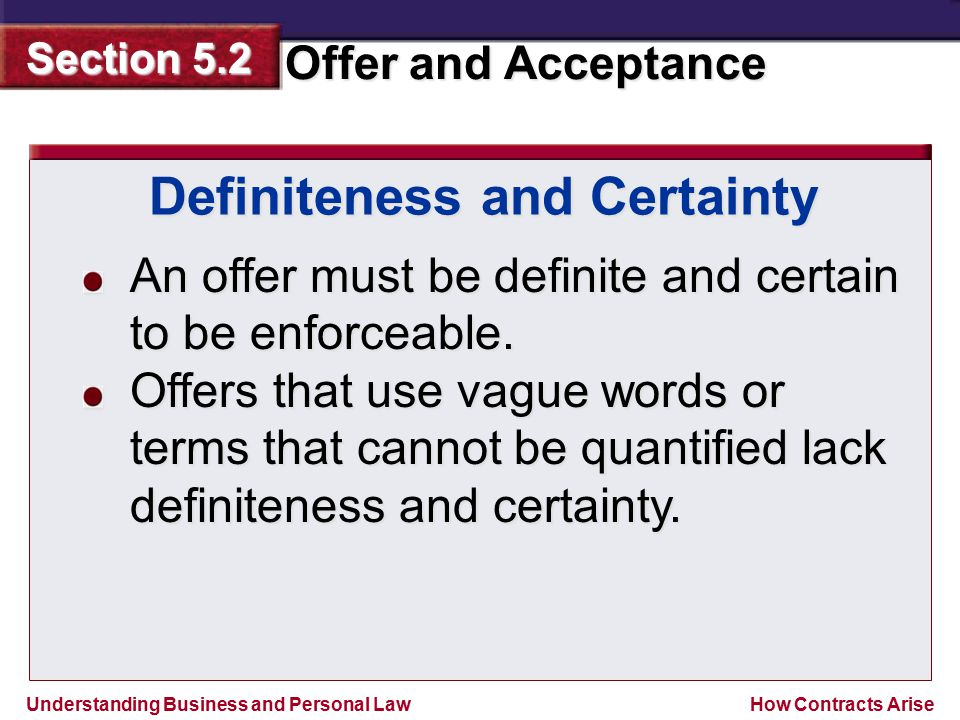 Definiteness and Certainty