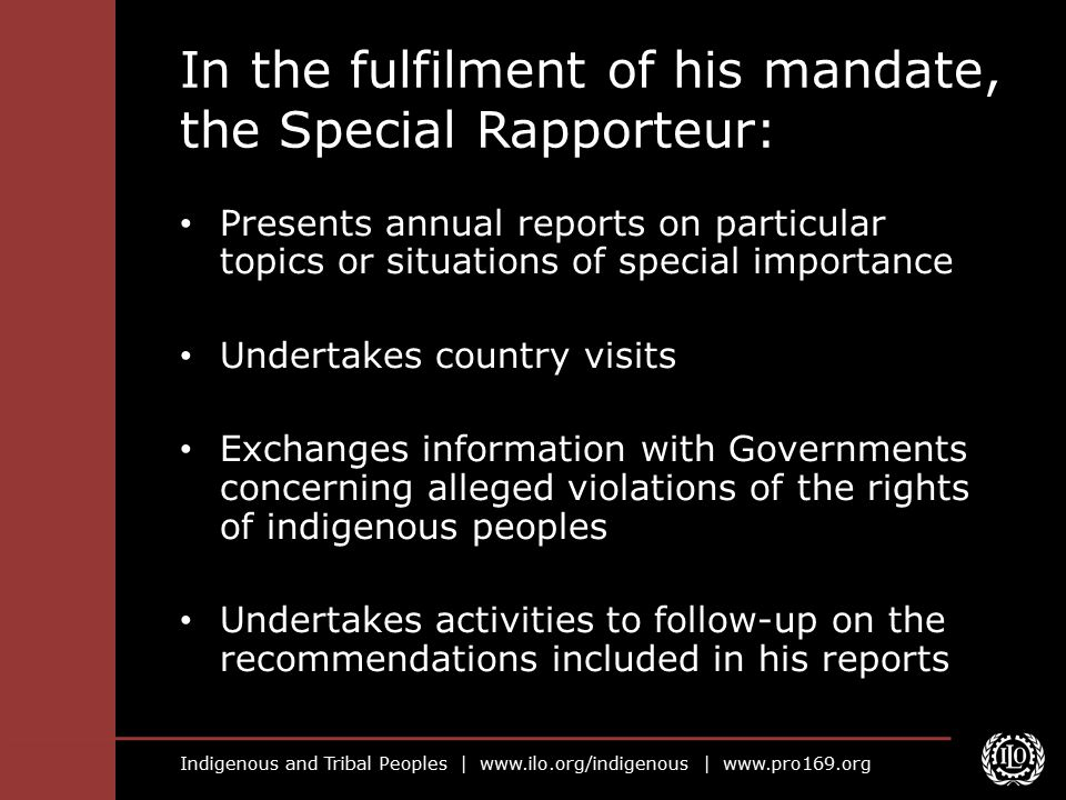 In the fulfilment of his mandate, the Special Rapporteur: