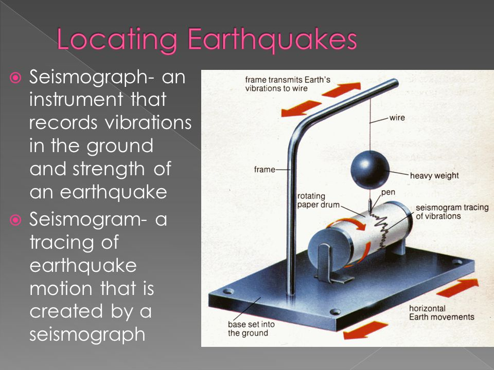 Locating Earthquakes Seismograph- an instrument that records vibrations in the ground and strength of an earthquake.