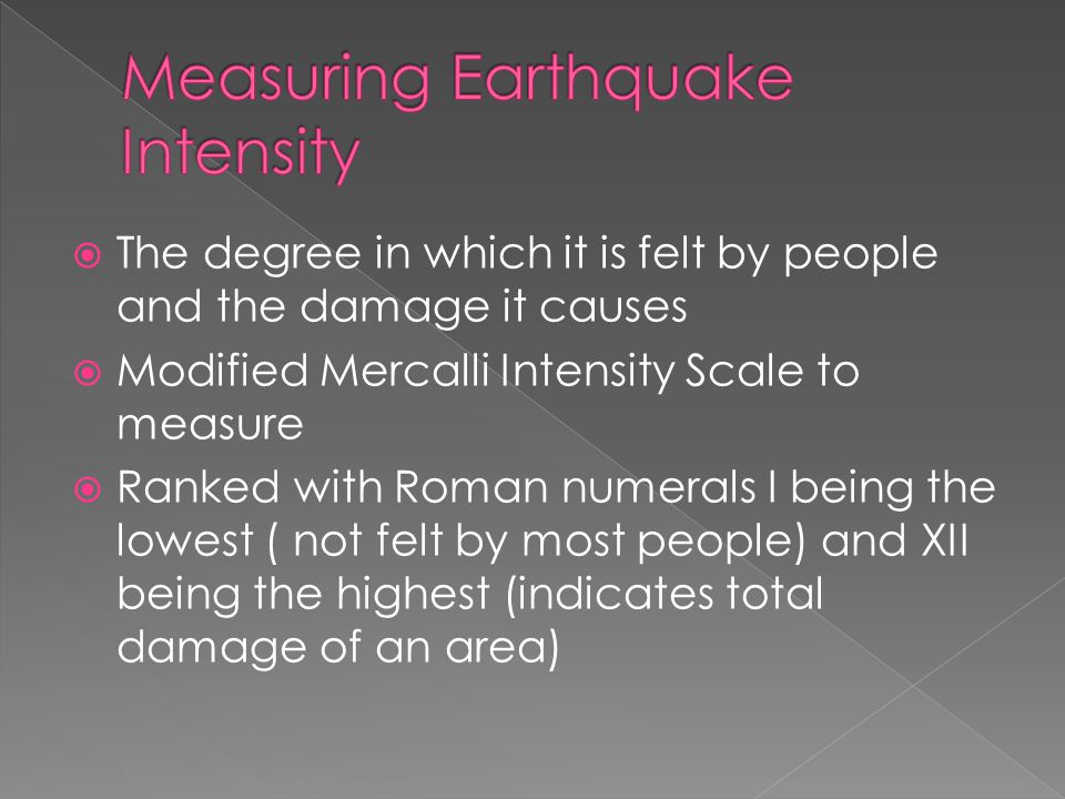 Measuring Earthquake Intensity