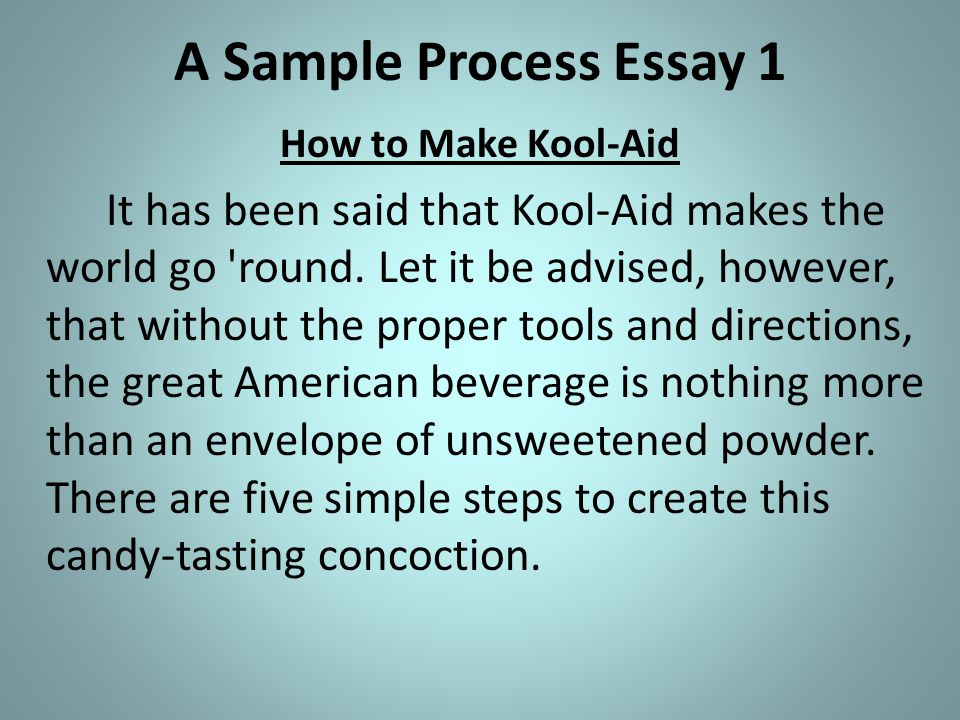 Essay On How To Start A Business A Sample Process Essay  Health And Fitness Essays also Synthesis Essay Topics The Process Essay Process  Ppt Video Online Download Persuasive Essay Thesis