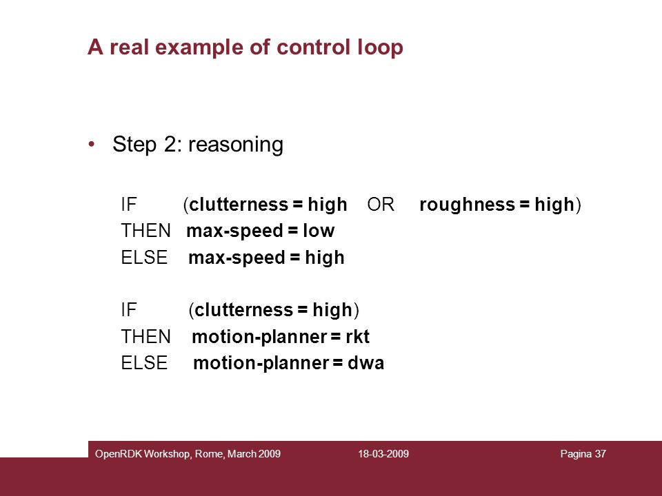 A real example of control loop
