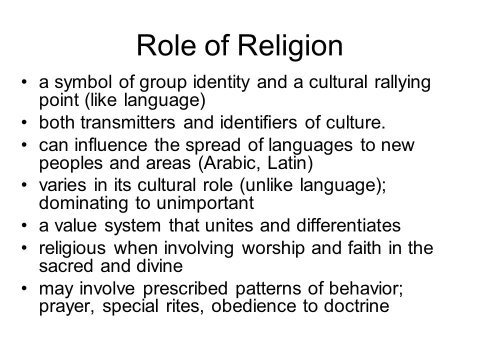the roles of cultural belief systems in Religion (from the latin religio, meaning 'restraint,' or relegere, according to cicero, meaning 'to repeat, to read again,' or, most likely, religionem, 'to show respect for what is sacred') is an organized system of beliefs and practices revolving around, or leading to, a transcendent spiritual experience.