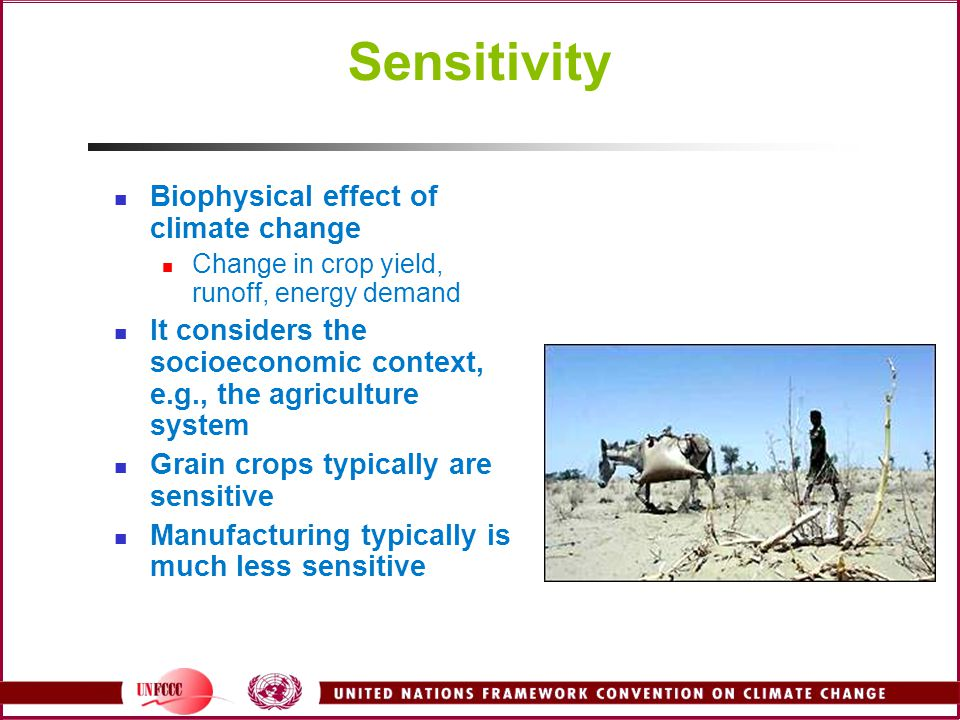 Sensitivity Biophysical effect of climate change