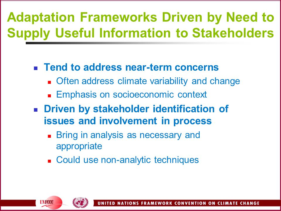 Adaptation Frameworks Driven by Need to Supply Useful Information to Stakeholders