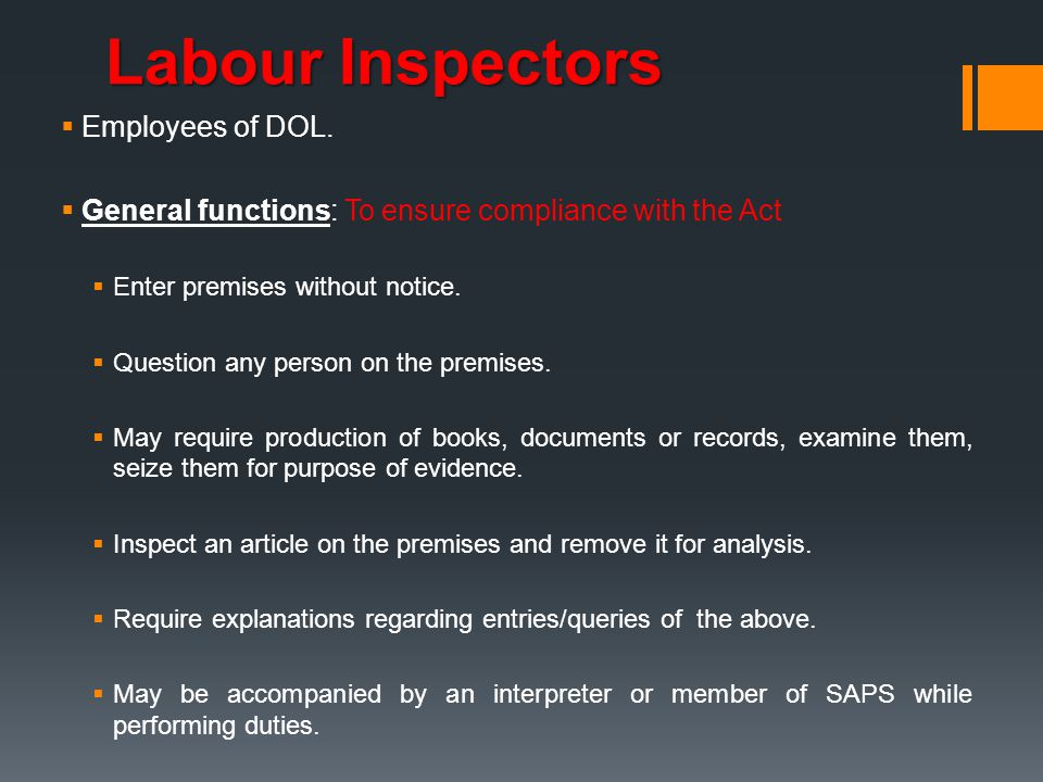 Labour Inspectors Employees of DOL.